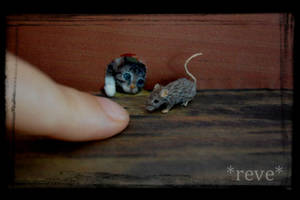Miniature Kitten and Mouse * Handmade Sculpture * by ReveMiniatures