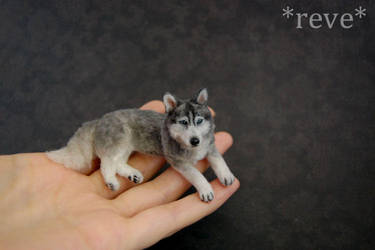 Miniature Siberian Husky Dog * Handmade Sculpture by ReveMiniatures