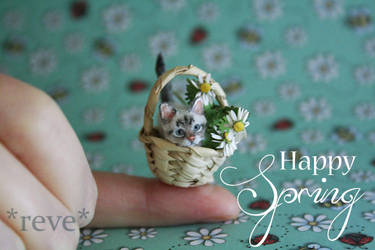 Happy Spring * Handmade Miniature Kitten  * by ReveMiniatures