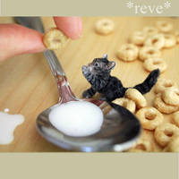 Good Morning! Handmade miniature kitten by ReveMiniatures