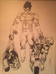 Vegeta vs Superman and Batman by 36thLotusStudios