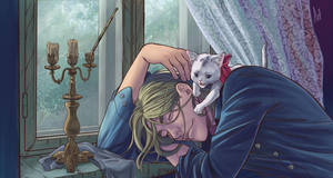man and a cat by rerekina