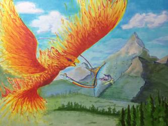Rainbow's Fire Chicken by kittyhawk-contrail