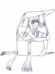 Long hair contortionist by akihiro