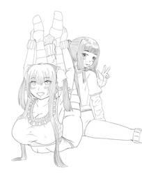 backbend and oversplit?(monotone) by akihiro