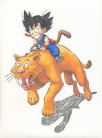 Goku and Tiger by kaztorama