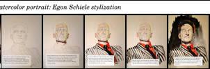 Stylized watercolor portrait - tutorial by krysyonysh