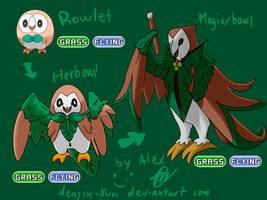 Rowlet and my Fake evos by Denjin-kun
