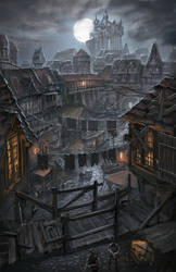 Night over the poor district by ortsmor