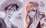 Luffy + nami  quick sketch by lukesChillArt666
