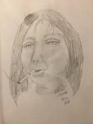 Woman smoking by Kangaroo1323