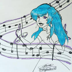 Inktober day 18-Music Witch by MESS-Anime-Artist