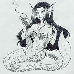 Inktober day 20-Mermaid Witch by MESS-Anime-Artist