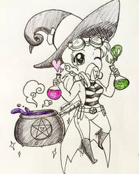 Inktober day 21-Potion Brewer by MESS-Anime-Artist