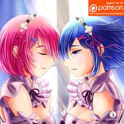 Ram and Rem Fan Art by aoyumeart