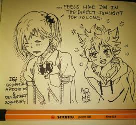 Haikyuu FanArt: Yachi and Hinata by aoyumeart