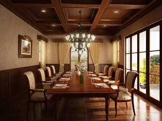 Wooden Dinning Hall by reshma-artwork