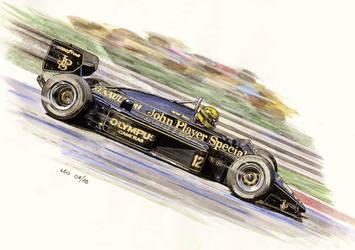 Ayrton Senna, Lotus 97T-Renault 1985 by Leotrek