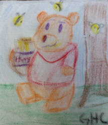 Drawing class doodle Winnie the Pooh by kingofthedededes73