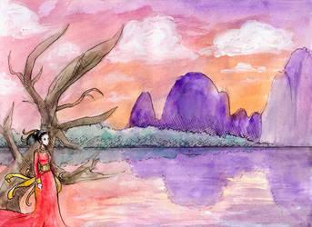 The Lady in Reddish-Pinkish by worldofyarn