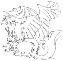 Lineart: Fluffy Gryph by shortissimus