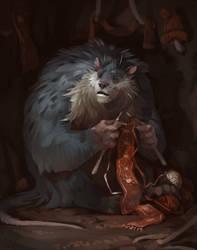 Big rat knits a scarf by deathnear
