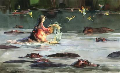 hippopotames by claratessier