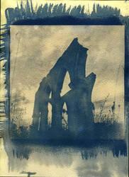 Among ruins. Cyanotype print by urbantrip