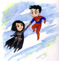 Batgirl and Superboy by d00li