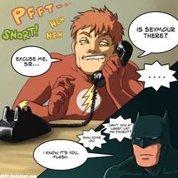 Flash prankcalls Batman by d00li