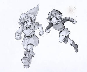 Link and Saria by EmberRoseArt
