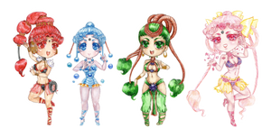 Chibi Watercolor Amazoness Quartet All by Lucifer-Krusnik00