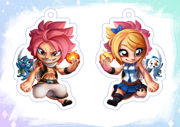 Natsu and Lucy Charm by Qesque