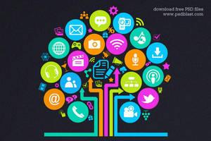 Social Media Tree Icon (PSD) by psdblast