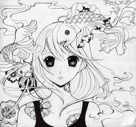 koi girl sketch by Kuromi-Ori