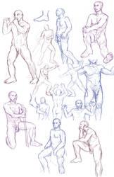 Figure drawings 12-7-16 -NSFW- by ErinPtah