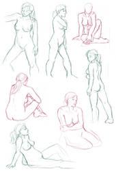 Figure drawings 1-28-17 -NSFW- by ErinPtah