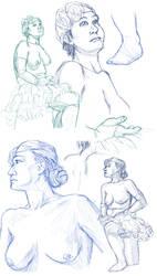Figure drawings 3-19-2017 -NSFW- by ErinPtah