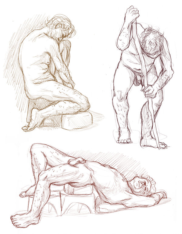 Figure drawings 7-9-17 -NSFW- by ErinPtah