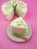 Soft Pastel Rainbow Cake by monsterkookies