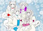 Samoyed Family by BlooeyedSpazz