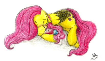 Fluttershy and the Dangos (coloured) by Sky-Sketch