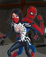 Spider man and Silk by Taipu556