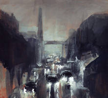Cars, rain and a factory by merl1ncz