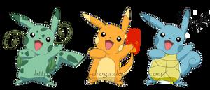 Pikachufication - 1st gen starters by Katmai-la-droga