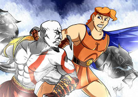 Kratos vs. Hercules by Jeremy-Mendoza