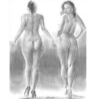 Backside walking nudes w or wo pumps by mozer1a0x
