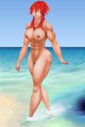 Kiva like woman in surf by MuscleWomen-Planet
