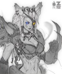 Human Female Rengar Fan Art by Zeronis