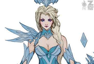Elsa Dark Ice Queen pt.1 Cropped WIP by Zeronis